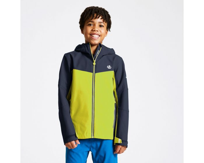 Kids In The Lead Waterproof Jacket Outerspace Blue Lime Punch
