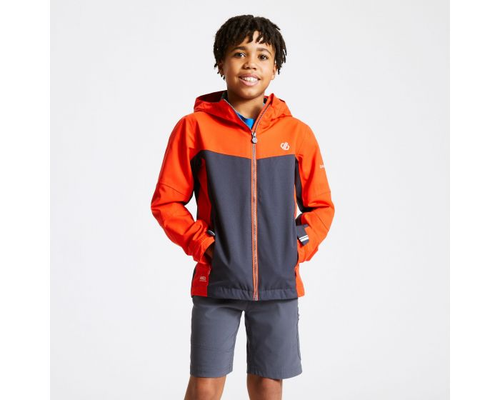 Kids In The Lead Waterproof Jacket Trail Blaze Red Ebony Grey