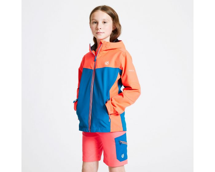 Kids In The Lead Waterproof Jacket Fiery Coral Petrol Blue