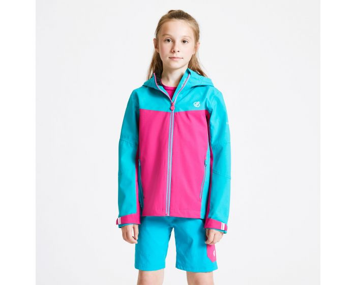 Kids In The Lead Waterproof Jacket Aqua Blue Active Pink
