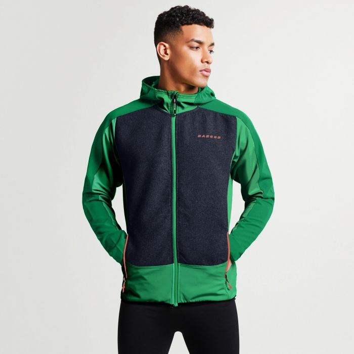 Men's Creed Softshell Hybrid Jacket Highland Green Outerspace Blue Marl