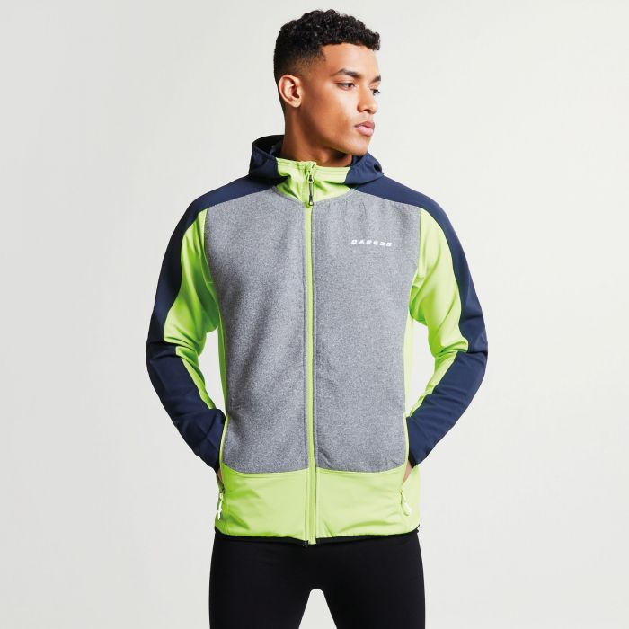 Men's Creed Softshell Hybrid Jacket Electric Lime Outerspace Blue Ash Grey Marl
