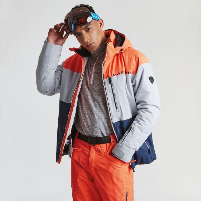 Men's Roamer Pro Ski Jacket Vibrant Orange Marl Cyberspace Grey Outerspace Blue