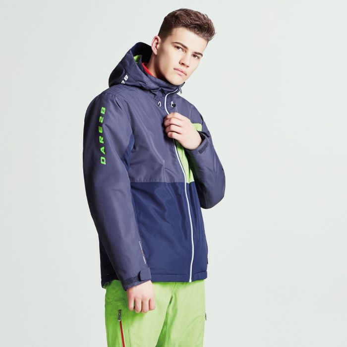 Men's Embargo Ski Jacket Ebony Grey Outerspace Blue Electric Lime Marl