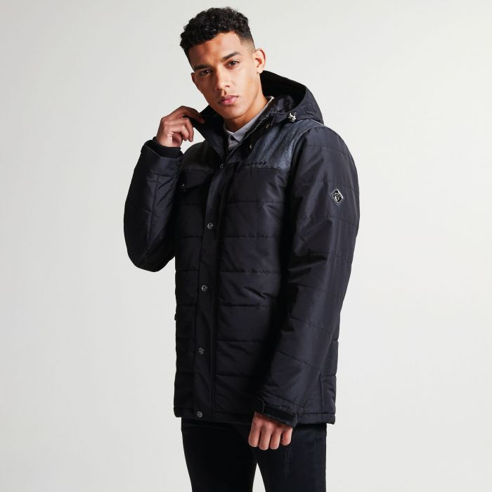 Men's Level Up Ski Jacket Black Charcoal Grey