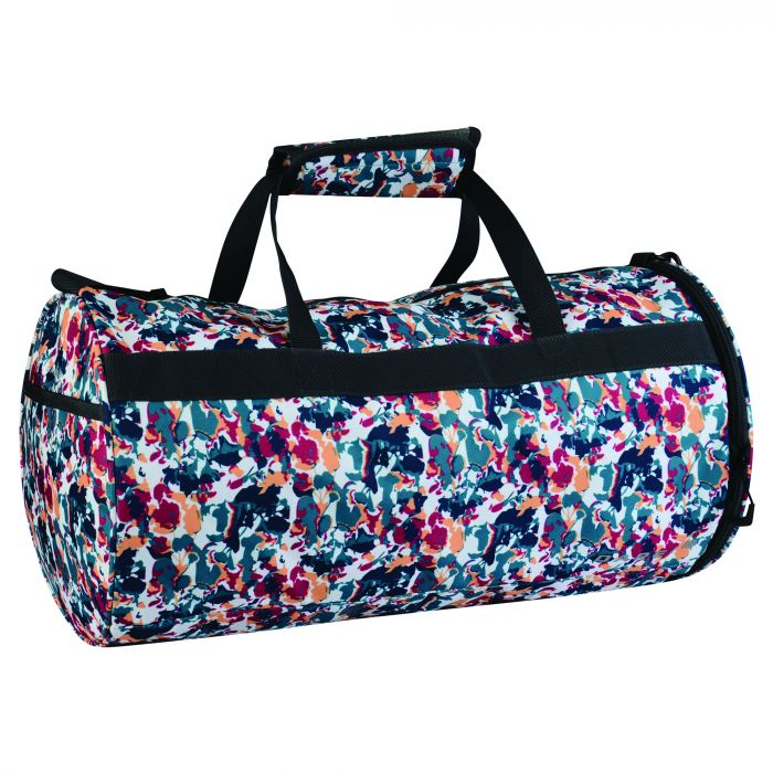 Women's Workout Duffle Gym Bag & Fitness Mat Set Cyber Pink Print