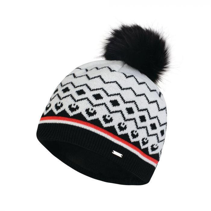 Women s Coincide Bobble Beanie Hat White Black  16158a5ac045