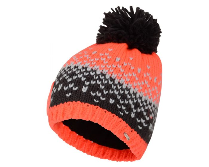Womens Ideation Bobble Hat Fiery Coral Ebony