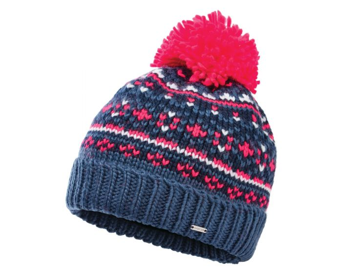 Womens Headlines Ii Fleece Lined Knit Bobble Beanie Dark Denim Neon Pink