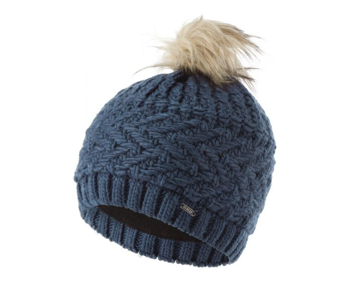 Womens Radiance Ii Fleece Lined Faux Fur Bobble Knit Beanie Dark Denim