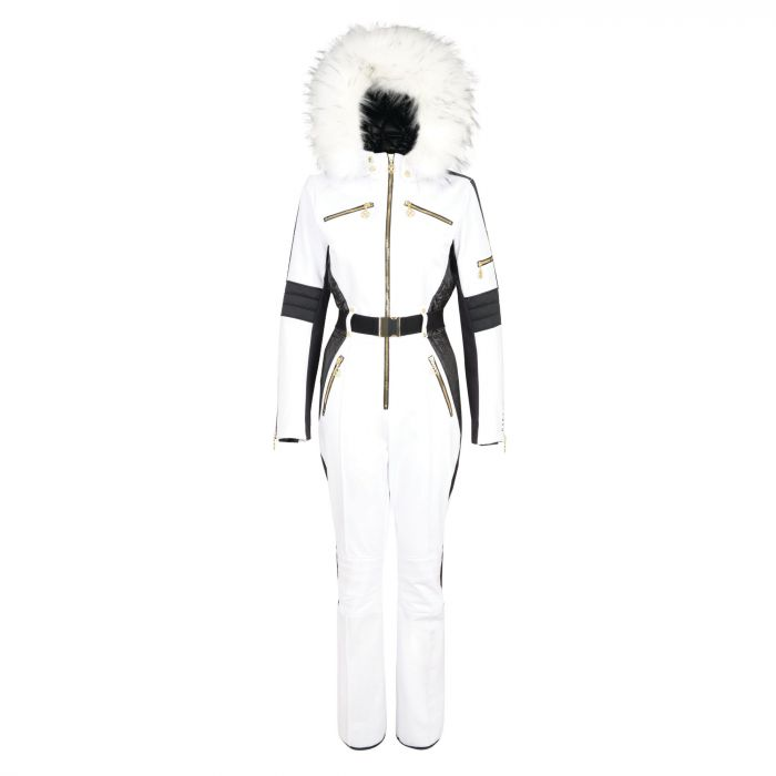 White Ski Onesie with Faux Hood