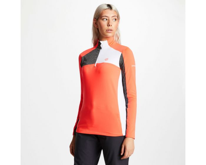 Womens Default Half Zip Core Stretch Midlayer Fiery Coral Charcoal Grey
