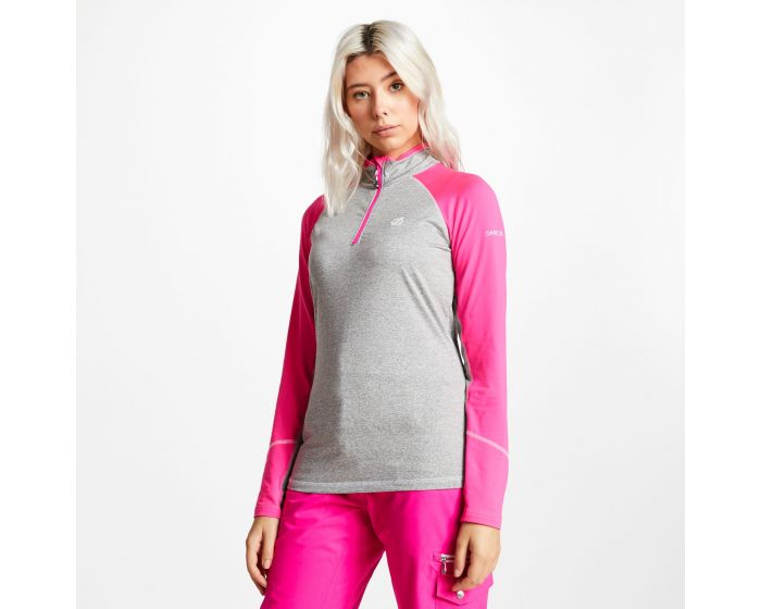 Womens Involved Core Stretch Half Zip Midlayer Ash Grey Cyber Pink