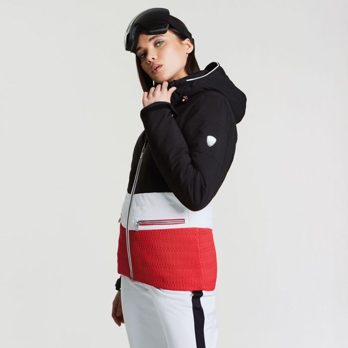 Women's Surpass Ski Jacket Black White Lollipop Red