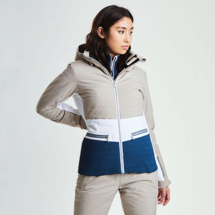 Women's Surpass Ski Jacket Macchiato White Blue Wing