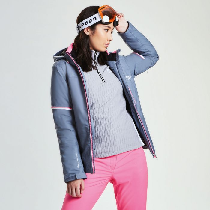 Women's Opulence Ski Jacket Mercury Grey Print White