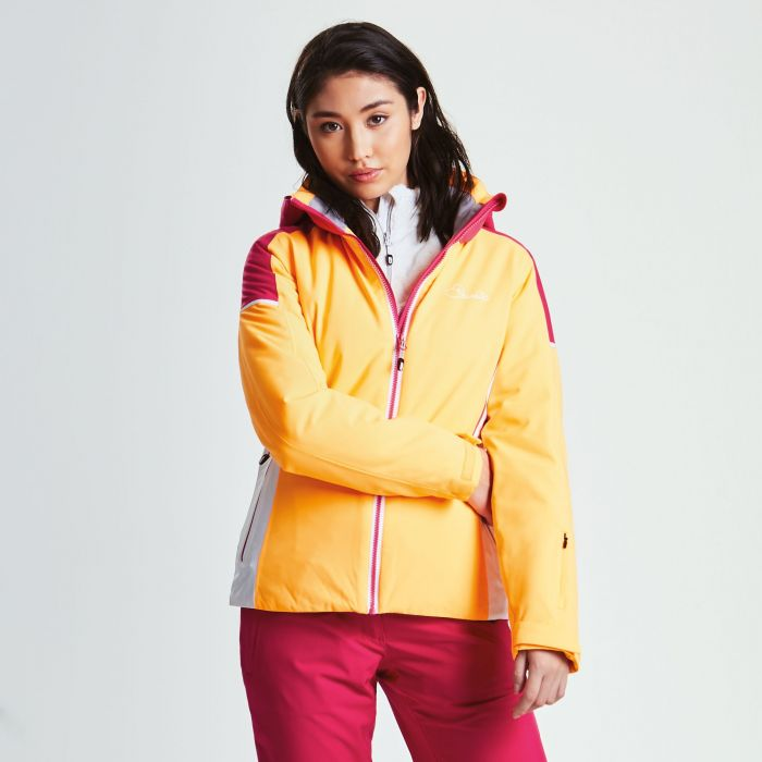 Women's Contrive Ski Jacket Orange Burst Pink Fusion