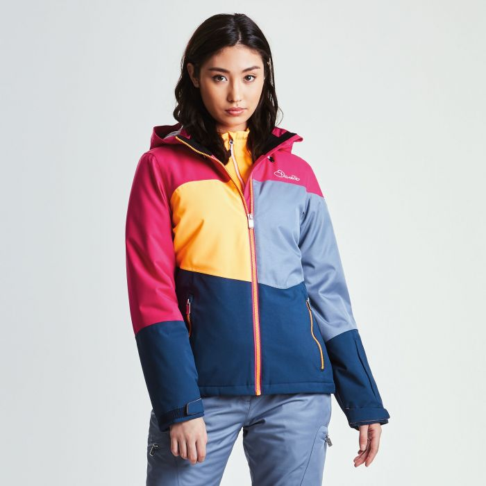 Women's Indestruct Ski Jacket Pink Fusion Mercury Grey