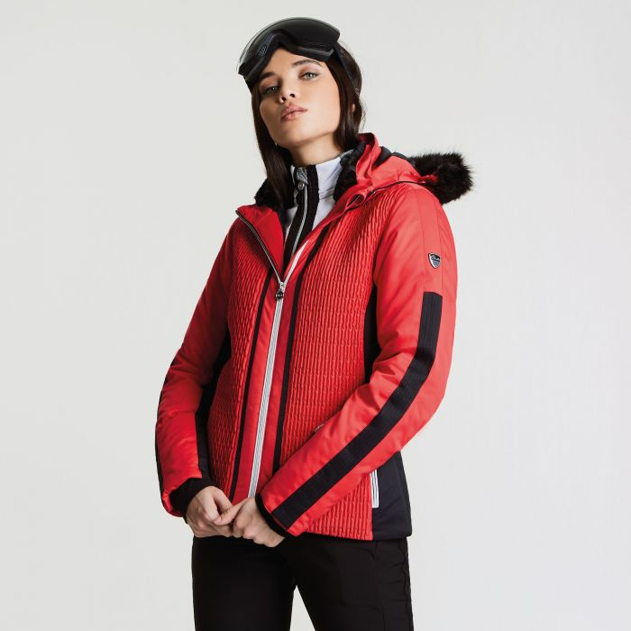 Women's Statement Luxe Ski Jacket Lollipop Red Black