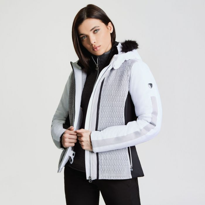 Women's Statement Luxe Ski Jacket White Silver Flash Black