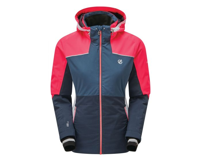 Womens Flourish Waterproof Insulated Hooded Ski Jacket Nightfall Navy Dark Denim
