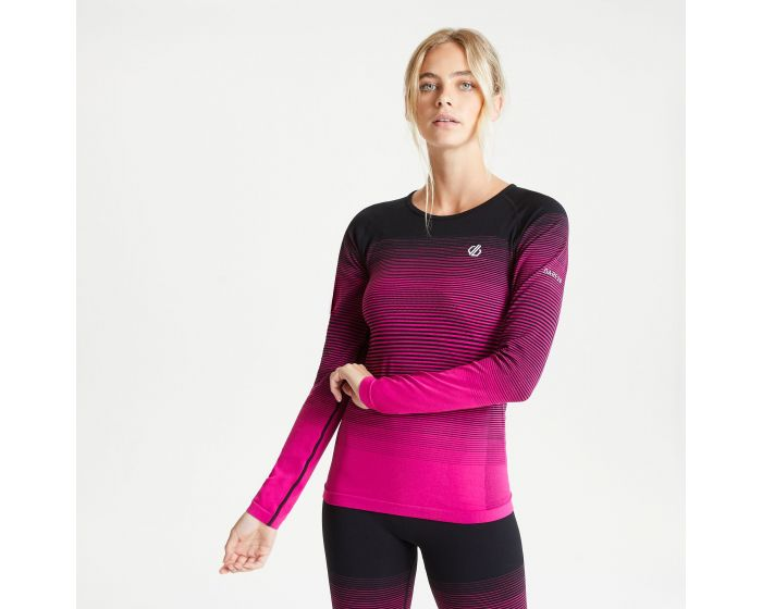 Women's In The Zone Long Sleeved Performance Base Layer Top Active Pink  Black | Dare2b