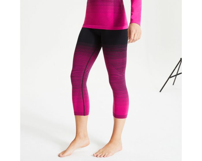 Women's In The Zone Performance Base Layer 3/4 Leggings Active Pink Black |  Dare2b