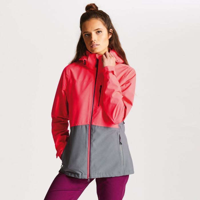 Women's Verate Waterproof Jacket Neon Pink/Smokey Grey