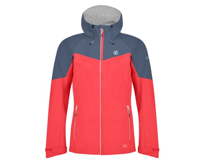 Womens Reconfine Lightweight Hooded Waterproof Jacket Fiery Coral Meteor Grey