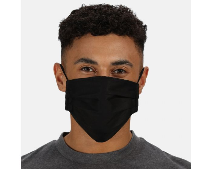 Adult's Triple Layer Anti-Bac Washable Face Covering 3 Pack Black