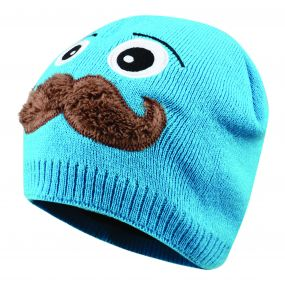 Kids Look Out Beanie Hat Fluro Blue