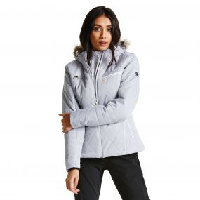 Women's Ornate Luxe Ski Jacket Silver Flash