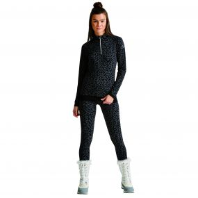 Women's Template Leopard Print Base Layer Set BlackLeopard
