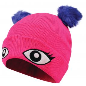 Kids Watch Out Beanie Hat Cyber Pink