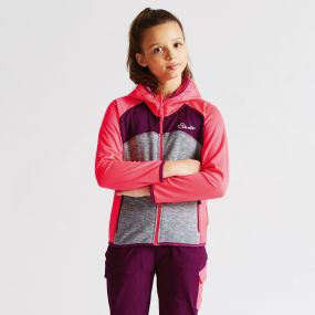 Kids Unscramble Core Stretch Hoodie Neon Pink/Mid Grey