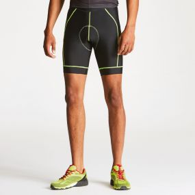 Men's Sidespin Gel Cycling Shorts Black/Fluro Yellow