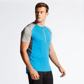 Men's Attest Workout T-Shirt Fluro Blue/Ash