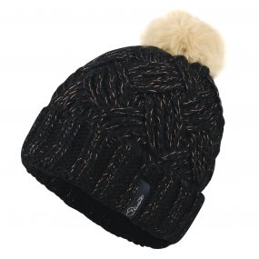Women's Sheen Beanie Hat Black