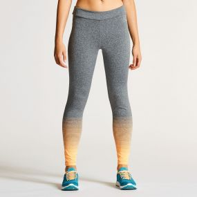 Women's Fragment Tight Fitness Leggings Orange Burst Grey