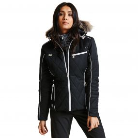 Women's Ornate Luxe Ski Jacket Black